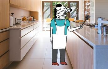 Na nový obyvák s krbem a kuchyň